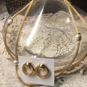 Alfred Sung pearl and gold earring and necklace